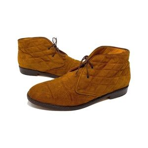 Vintage Cole Haan Quilted Suede Leather Booties